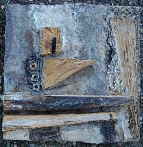 Filz, Enkaustik, Pigmente,  Metall, Holz